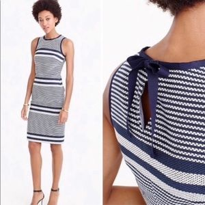 J Crew Striped Navy Tweed Sheath Dress Sz. 6